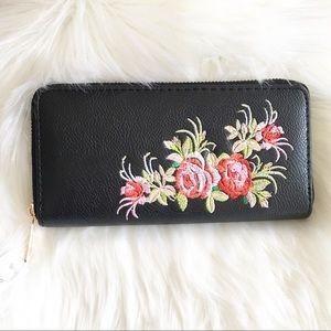 Handbags - Rose Embroidered Single Zip Wallet